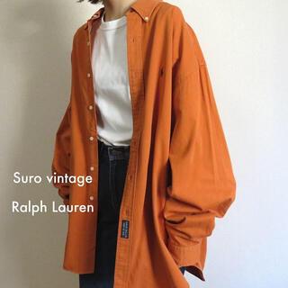 ポロラルフローレン(POLO RALPH LAUREN)の90s ラルフローレン 刺繍ロゴ シャツ オレンジ×ネイビー 古着女子(シャツ/ブラウス(長袖/七分))