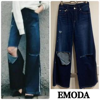 エモダ(EMODA)のEMODA 美品 ワイドパンツ デニム クラッシュデニム サイドスリッド(デニム/ジーンズ)