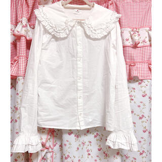 merry jenny - merry jennyブラウス ゆめかわいい衿 レースカラーシャツ 袖フリル