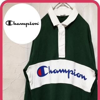 Champion - チャンピオン ポロシャツ ロングTシャツ 緑 白 アースカラー お洒落 メンズ