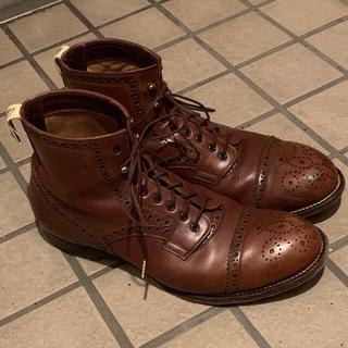 フットザコーチャー(foot the coacher)のフットザコーチャー ウィングチップブーツ 25.5cm ブラウン(ブーツ)
