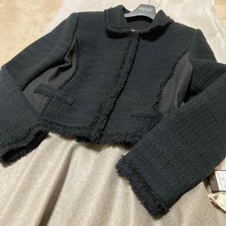 フォクシーウール コットンアクリルブラック95000円ジャケット42サイズ(テーラードジャケット)