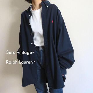 ポロラルフローレン(POLO RALPH LAUREN)の90s ラルフローレン 刺繍ロゴ シャツ ネイビー×赤 古着女子 vintage(シャツ/ブラウス(長袖/七分))