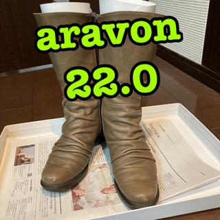 アラヴォン(Aravon)の中古◇アラヴォン◇ブーツ◇22.0◇カーキ◇難あり◇送料無料◇aravon(ブーツ)