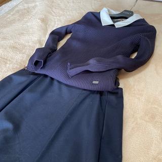 フォクシー(FOXEY)のフォクシーミッドナイトブルーCLAS SY新同掲載42サイズ(Tシャツ(長袖/七分))