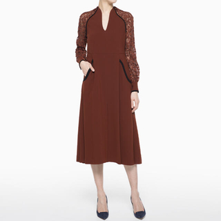 mame - Mame Pedicel Lace Sleeves A-Line Dress