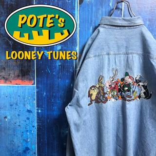 【ルーニーテューンズ】バックビッグキャラ刺繍ポケットロゴタグデニムシャツ 90s