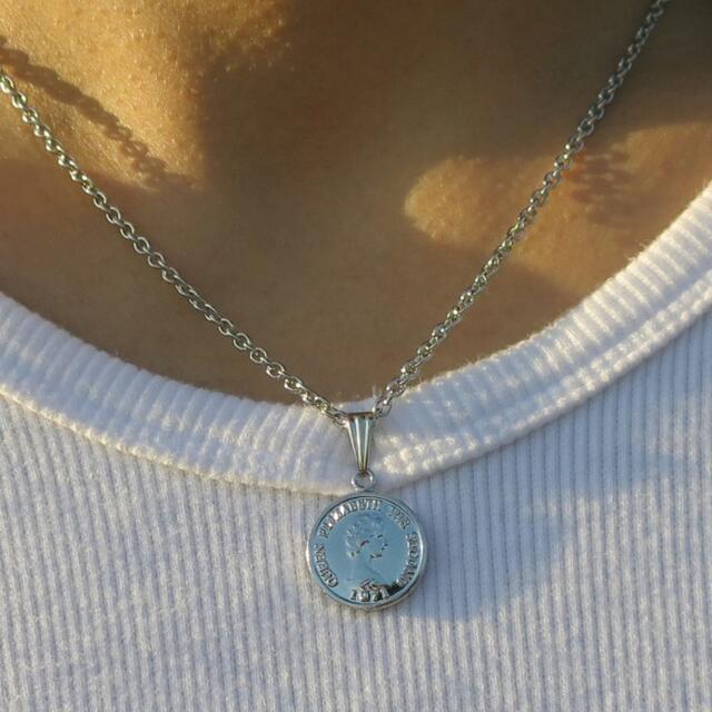 コインネックレス シルバー 40cm アジャスター付き5cm メンズのアクセサリー(ネックレス)の商品写真