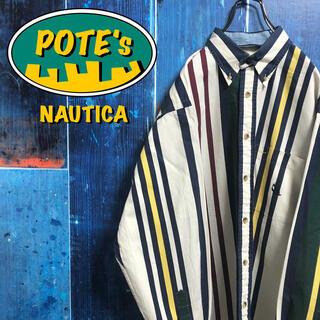ノーティカ(NAUTICA)の【ノーティカ】USA製ポケット刺繍ロゴマルチストライプシャツ 90s(シャツ)