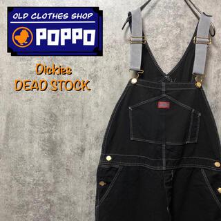 ディッキーズ(Dickies)の【デッドストック】ディッキーズ☆後染め黒染めロゴタグ入りオーバーオール 90s(サロペット/オーバーオール)