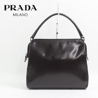 プラダ(PRADA)の【PRADA】プラダ オールレザー ハンド バッグ 茶 ダークブラウン(ハンドバッグ)