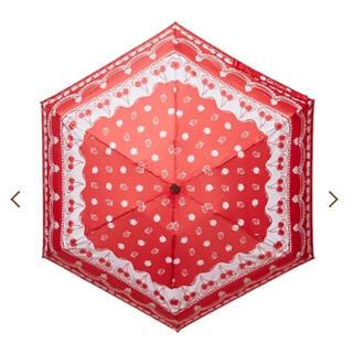 Q-pot. - 新品 Q-pot 折りたたみ傘 晴雨兼用 折り畳み さくらんぼ
