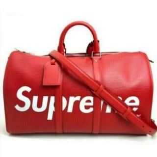 LOUIS VUITTON - 赤 Louis Vuitton x Supreme ボストンバッグ