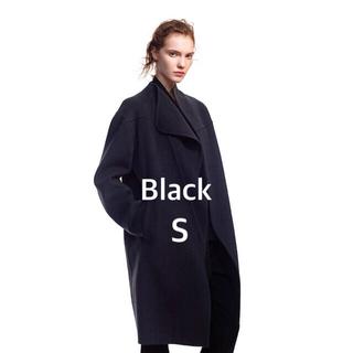 UNIQLO - UNIQLO+J カシミヤブレンドノーカラーコート 黒 Black