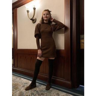 Lochie - エピヌ epine arm volume knit onepiece brown