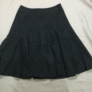 バーバリーブルーレーベル(BURBERRY BLUE LABEL)のバーバリー ブルーレーベル フレア スカート 38 ブラック シャドー チェック(ひざ丈スカート)