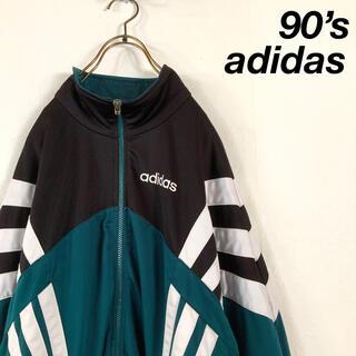 adidas - 希少 90s adidas 銀タグ ビッグスリーストライプ トラックトップ