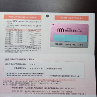 イセタン(伊勢丹)の三越伊勢丹ホールディングス 株主優待カード(ショッピング)