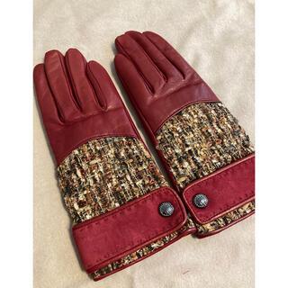 アナスイ(ANNA SUI)のアナスイ ラムレザーツイード手袋 新品 20cm(手袋)