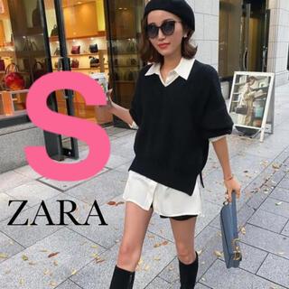 ZARA - 【新品・タグ付き】ZARA  スリット入りサテン地シャツ S オーバーサイズ