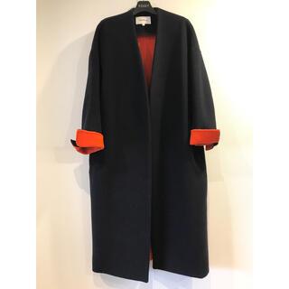 ENFOLD - 美品 ❣ エンフォルド ソフト リバー ノーカラー コート オレンジ 朱赤