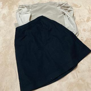 フォクシー(FOXEY)のフォクシーロゴつきコットンブラックskirt42サイズ(ひざ丈スカート)