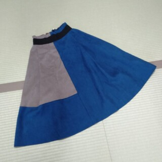 秋冬物 ブルー青膝丈スカート(ひざ丈スカート)