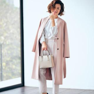 PLST - くすみピンク ノーカラー コート スプリング プラステ 春 ロング
