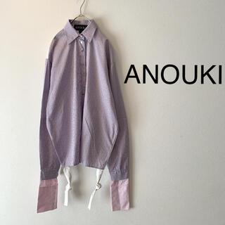 サカイ(sacai)の【美品】ANOUKI ストライプ 変形デザイン 長袖シャツ サイズ7(シャツ/ブラウス(長袖/七分))