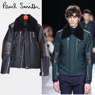 Paul Smith - ロンドン購入 ポールスミス18aw ムートンボアジャケット パネルレザーブルゾン