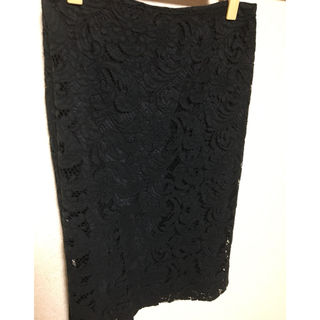 PRADA - 【PRADA】黒レースひざ丈スカート