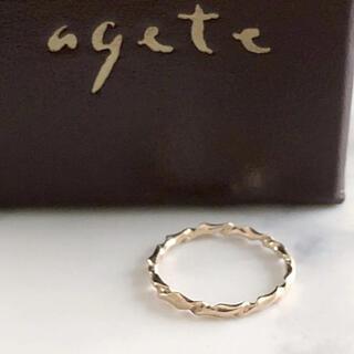 agete - 美品 agete アガット K10 デザインピンキーリング