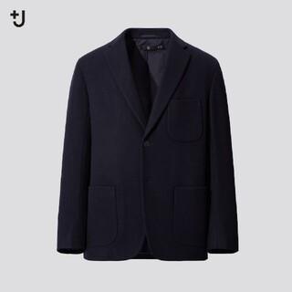 UNIQLO - ユニクロ+j ジルサンダー ウールブレンドオーバーサイズジャケット ネイビー