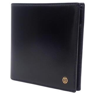 カルティエ(Cartier)のカルティエコンパクト財布 2つ折り財布 カーフ ブラック 40800060466(折り財布)