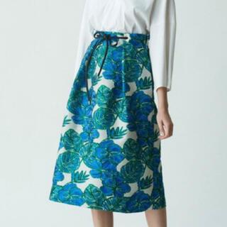 トゥモローランド(TOMORROWLAND)のTOMORROW LAND フラワージャガードスカート ブルー 36(ロングスカート)