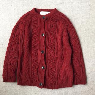アトリエドゥサボン(l'atelier du savon)のアトリエドゥサボン 赤色の模様編みニット カウチン(ニット/セーター)
