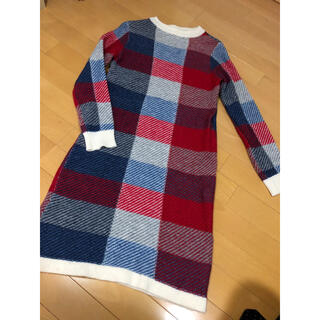 ドットアンドストライプスチャイルドウーマン(Dot&Stripes CHILDWOMAN)の美品ドット&ストライプス チェックニットワンピース(ひざ丈ワンピース)