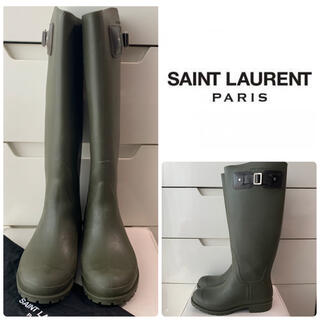Saint Laurent - サンローラン カーキラバー レインブーツ