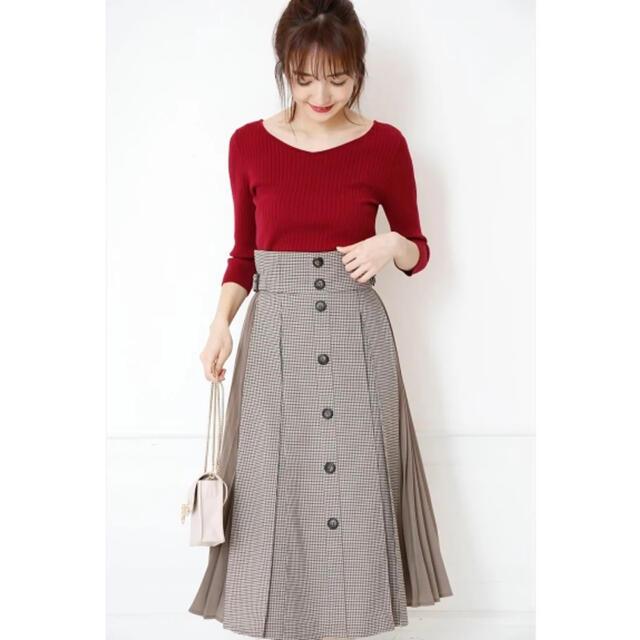 Rirandture(リランドチュール)の新品タグ付き リランドチュール  プリーツ切替スカート サイズ2 レディースのスカート(ひざ丈スカート)の商品写真