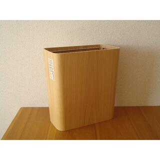 MUJI (無印良品) - 無印良品 木製ごみ箱 袋止めワイヤー付き■オーク材突板 角型 ゴミ箱 スリム