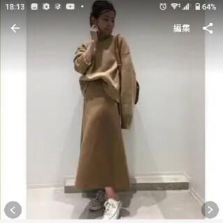 アパルトモンドゥーズィエムクラス(L'Appartement DEUXIEME CLASSE)の美品☆アパルトモン(リジェールスカート)キャメル36(ひざ丈スカート)