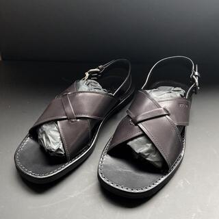 プラダ(PRADA)のPRADA プラダ メンズ サンダル 26.5 新品 黒 レザー  靴(サンダル)