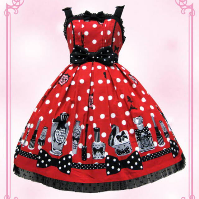Angelic Pretty(アンジェリックプリティー)のfantasic dolly 赤JSK レディースのワンピース(ひざ丈ワンピース)の商品写真