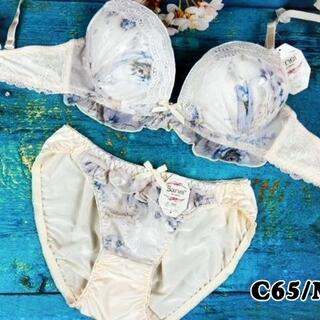 SE07★C65 M★美胸ブラ ショーツ Wカップ ジャガード クリーム(ブラ&ショーツセット)