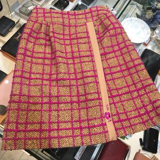 エムズグレイシー(M'S GRACY)のエムズグレイシー  ウール膝丈スカート ベージュ×ピンク 38(ひざ丈スカート)
