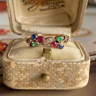 ヴィンテージ エメラルド ルビー サファイア ダイヤモンド 四大宝石 英国