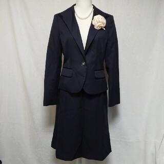 美品 エスプリミュール 上品な濃紺お受験スカートスーツセットアップ 13号