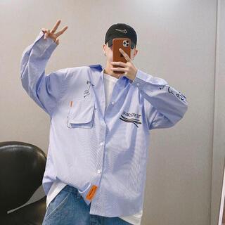 新品 Studio Frank メンズシャツ ブルー L トップス(シャツ)
