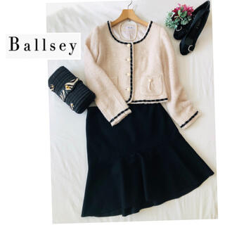 ボールジィ(Ballsey)の美品 ♡ スーツ セットアップ 2点 レディースノーカラージャケットツィード  (スーツ)