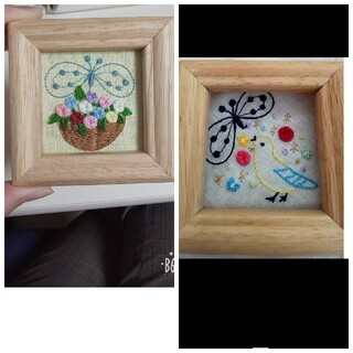 ミナペルホネン(mina perhonen)のミナペルホネン お花の刺繍 立体刺繍 壁掛け ハンドメイド(アート/写真)
